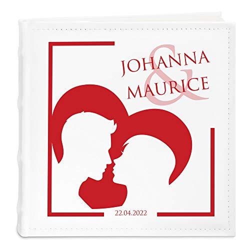 Murrano Einsteckalbum + mit Aufdruck - Fotoalbum für 200 Fotos 10x15-50 Seiten - Größe: 21x22cm - Weiß - Geschenk zur Hochzeit zum Hochzeitstag - Herz