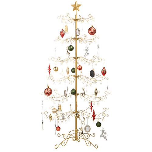 Best Choice Products 6ft Wrought Iron Ornament Display Christmas Tree w/Easy Assembly and Stand - Gold