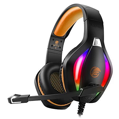 Fachixy Cascos Gaming para PS4 PS5 Xbox One PC Laptop Switch, Auriculares Gaming Estéreo Sonido, Cascos con Microfono con Luz LED, Cascos Gamer Jack de 3,5 mm con Cancelación de Ruido