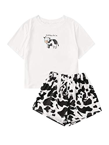 Floerns Women's Printed Short Sleeve Pajamas Top and Shorts Sets Whiat Black M