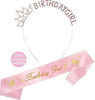 Unicorn Birthday Girl Sash and Headband/Tiara | Unicorn Birthday Party Supplies | Unicorn Happy Birthday Girl Party Supplies| Glitter Unicorn Birthday Satin Sash and Birthday Headband (Pink)