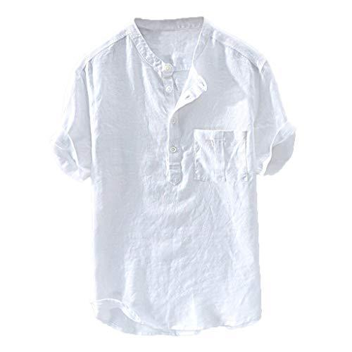 Camisa Algodón Y Lino Hombre Casual 2019 Nuevo Overdose Camisetas Hombre Manga Larga Color Sólido Cuello en V Botón Bolsillo Verano Blusa Tops Tallas Grandes S-XXL