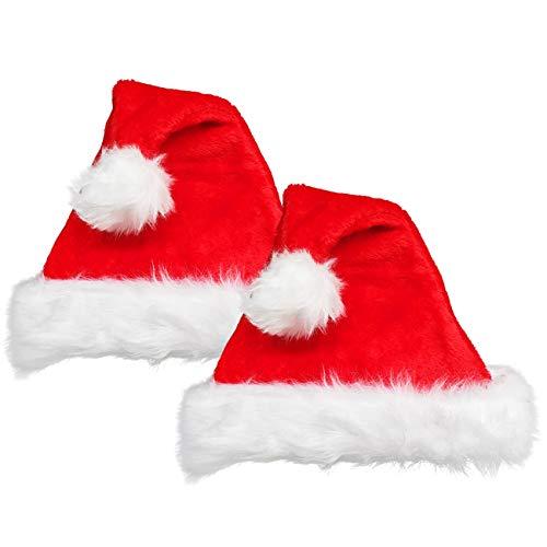 2 er Set Damen und Kinder Weihnachtsmütze Mütze Weihnachten Weich Nikolausmütze Dicker Fellrand aus Plüsch Top Qualität Kopfumfang 56-58cm