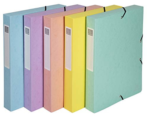 Exacompta 59560EScatola archivio Aquarel con elastico e dorso con etichetta di 4 cm in cartoncino lucido 600 gm², Colori assortiti, 1 pezzo