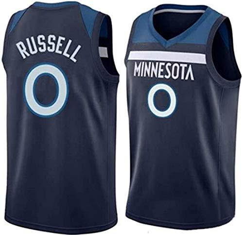 ATI-HSKJ NBA Basketball Maglie, Minnesota Timberwolves d'Angelo Russell 0# Jersey Respirabile Freddo Tessuto Swingman Maniche Canotta Abbigliamento,C,S(165~170cm/50~65kg)