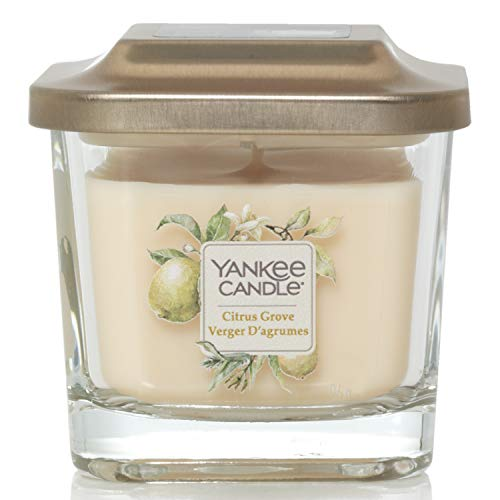 Yankee Candle Elevation Collection con Coperchio della Piattaforma Candela Quadrata a 1 Stoppino, Agrumeto, Piccolo