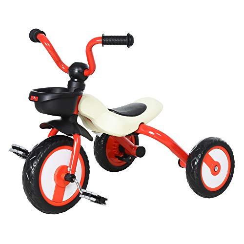 HOMCOM Kinderdreirad Dreirad Kinder Fahrrad Kinderfahrzeug Rad Lufthorn Baby Faltbar Rot 65 x 50 x 56 cm