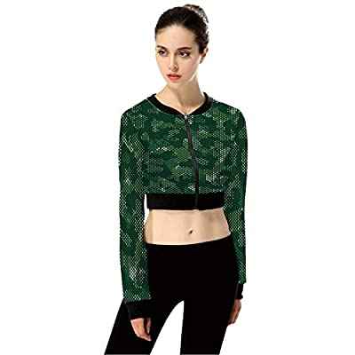 CamouflageAbstract Military FashionWomen's Long Sleeve Zipper Up Solid Crop Top Jacket for Sports,XL from C COABALLA
