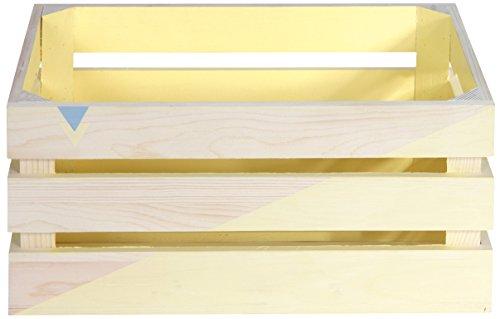 THE HOME DECO FACTORY HD4522 Lot de 3 Cagettes de Rangement, Bois, Bleu/Vert/Jaune, 40 x 30 x 16 cm