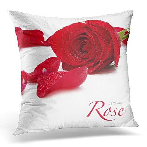 Funda de almohada decorativa con diseño de rosa y pétalos de gota roja romántica y color blanco, funda de almohada cuadrada para decoración del hogar, 45,7 x 45,7 cm