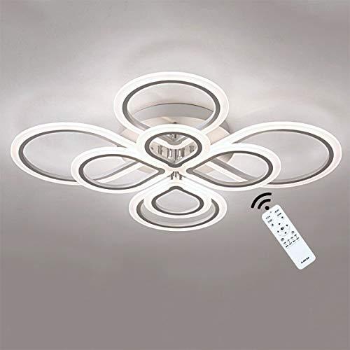 Tnxi 90W 105CM Modern Dimmbar LED Deckenleuchte Weiß Wohnzimmerlampe mit Fernbedienung 8 Ring Design Schlafzimmer Esszimmer Deckenlampe Metall Acryl Studie Restaurant Innenbeleuchtung 3000K- 6000K