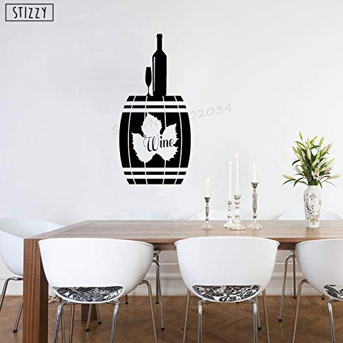 yaoxingfu Wandtattoo Kreative Alkohol Fass Flasche Vinyl Küche Wandaufkleber Weintraube Modernes Design Geschenk Fenster Kunst Dekor schwarz 27x57cm