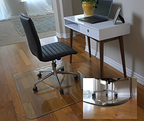 """36"""" x 46"""" Glass Chair Mat with Exclusive Beveled Edge by Clearly Innovative, 1/4"""" Thick Clear Tempered Glass with Easy Roll Edges 