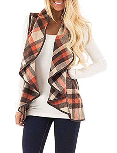 Oritina Sweater Vests for Women Sleeveless Cardigans Plaid Printed Open Front Draped Kimono Loose Fall Jacket Cardigan Blue M