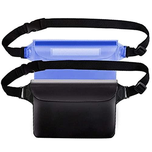 EElabper Pantalla táctil Bolso de la Bolsa Impermeable con Correa de Cintura Ajustable para Barco con Buceo Pesca Playa Azul 2 Piezas