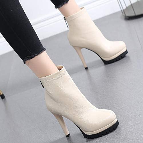 HRCxue zapatos de la Corte botas Martin botas de tacón Alto Femeninas de plataforma con Cremallera Fina versátiles Negras, 37, Beige