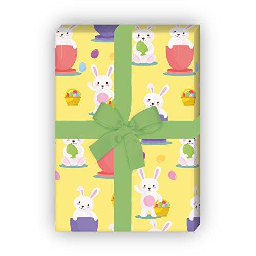 Kartenkaufrausch 4 Bögen - Süßes Oster Geschenkpapier Set mit lustigen Häschen für tolle Geschenk Verpackung, Musterpapier, Dekorpapier zum basteln 32 x 48cm, auf gelb