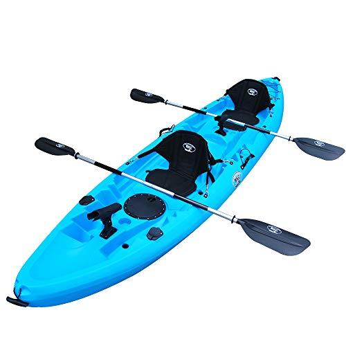 BKC TK219 12.2' Tandem Fishing Kayak W/Soft Padded Seats, Paddles,6 Rod Holders Included 2-3 Person Angler Kayak (Blue)