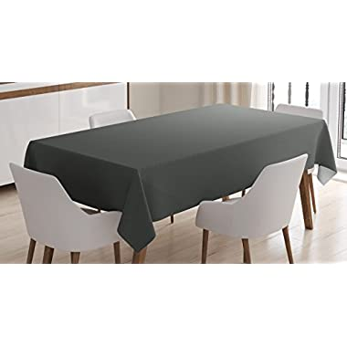 Ambesonne Grey Tablecloth by, Digital Creation of a Leather Texture Abstract Dark Colored Background Classical Print, Dining Room Kitchen Rectangular Table Cover, 60 W X 84 L Inches, Grey White