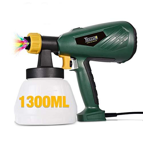 Farbsprüher, 500 W, 1300 ml, HVLP Farbspritzpistole, mit 3 Kupfersprühdüsen, max. Durchfluss 800 ml/min und abnehmbarem Behälter, 100 DIN-s für Malprojekte – TECCPO TAPS02P