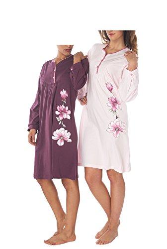 Consult-Tex Damen Langarm Nachthemd 2 Stück Packung DW919 100% Baumwolle 46/48