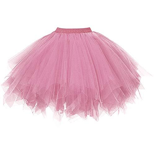 DresseverBrand Damen Petticoat 50er Rockabilly Jahre Retro Tutu Ballet Tüllrock Cosplay Crinoline Blush Small/Medium