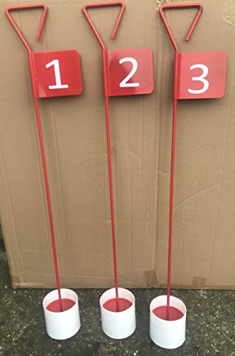 JL Golf Numbered Metal Professional Putting Green Flag and Hole Cup 90cm Choose numbering (1 & 2)