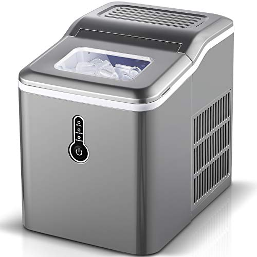 Sunmaki Eiswürfelmaschine, 12kg Eiswürfel 24h, Eiswürfelbereiter Edelstahl, 1.5L Wassertank,Eismaschine, Ice Maker 120W, Produziere 9 Eiswürfel, Zubereitung in 8 min (grau)
