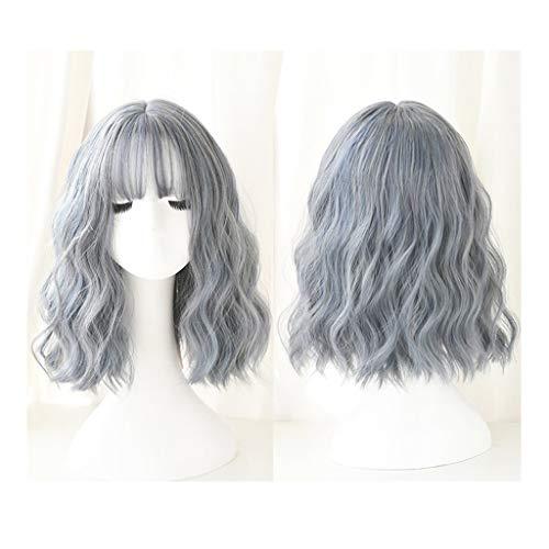 QXJPZ Perruque Femme Cheveux Courts Net Rouge Naturel Pleine Coiffures réaliste instantané Tronche Bleu Moyen Cheveux Longs Visage Rond Court Cheveux bouclés Perruques complètes
