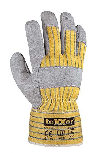 teXXor Handschuhe Rindkernspaltleder-Handschuhe Eifel Leder Natur/Drell gelb-blau 10