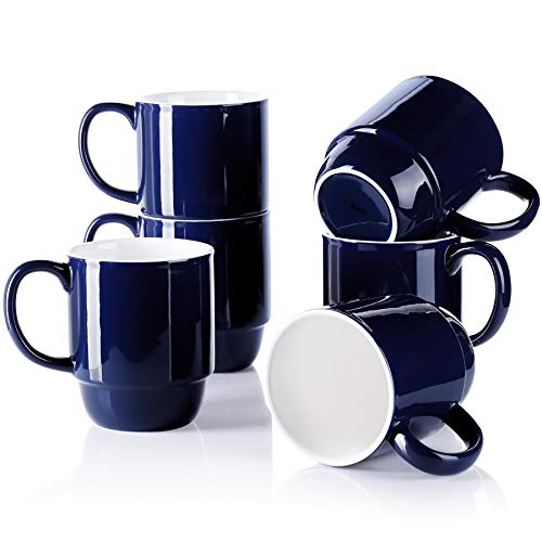 Sweese 609.603 Stackable Mug Set - 21oz Large Coffee Mugs for Coffee, Tea, Hot Chocolate, Set of 6, Navy