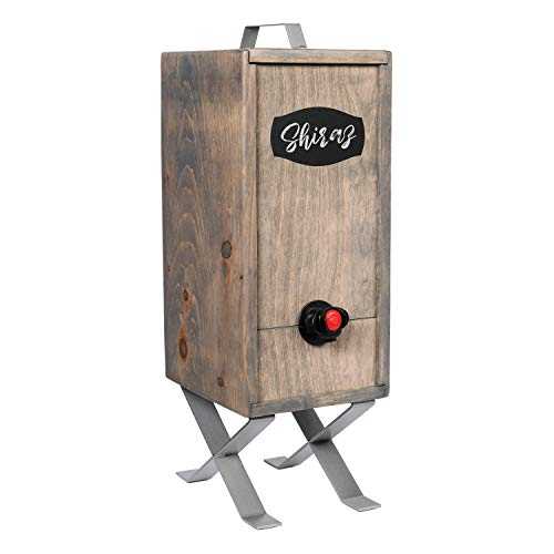 Wine Nook Decorative Wooden Box Wine Dispenser, Urban Grey Metro, 3 Liter, Naturally Insulated, with Chalk, Ice Pack, and Fillable Wine Bag