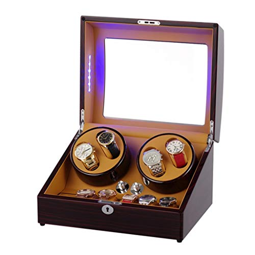 CHYOOO Reloj Caja Caja Giratoria para Relojes, con Motor Mabuchi Silencioso y Pantalla Digital LCD,LED Ligero,4 Relojes,5 Modos de Rotación Caja Almacenamiento Reloj