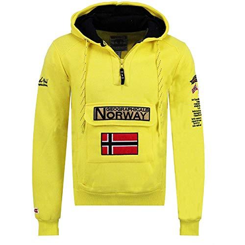Geographical Norway GYMCLASS MEN – Sudadera Con Capucha De Bolsillo Hombre – Sudadera Con Logotipo Y Mangas Largas (Amarillo Fluorescente M)