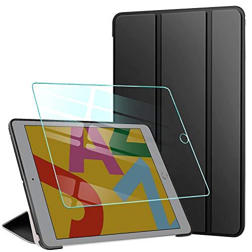 AROYI Custodia Cover Compatibile con iPad 8/7 (10.2 Pollici, 2020/2019 Modello, 8/7 Generazione) con Vetro Temperato, Ultra Sottile e Leggere Magnetico Smart Stand con Auto Svegliati/Sonno, Nero