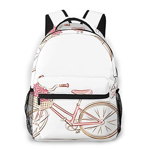 Laptop Rucksack Schulrucksack Paris Fahrradkorb Blume, 14 Zoll Reise Daypack Wasserdicht für Arbeit Business Schule Männer Frauen