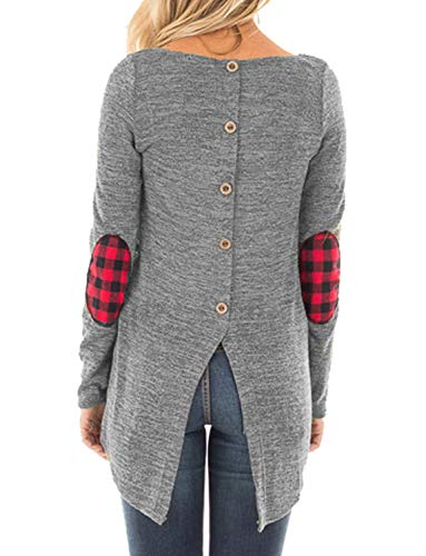 Hount Womens Round Neck Long Sleeve Sweatshirts Elbow Patchwork Tunic Tops with Button (Gray, M)