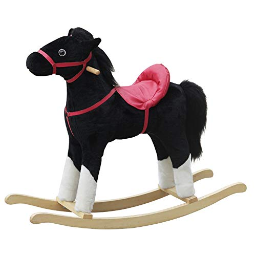 Kibten Rocking Horse Kids Toy Wooden Plush Pony Handle Ride on Animal Infant Rocking Animal Toddler Outdoor Indoor Toy Rocker Riding Children Toy Fun Rocker Gift for Boys Child (Color : A)