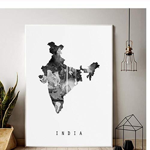 Terilizi India kaartenprint minimale kaart canvas poster 50X70cm geen lijst