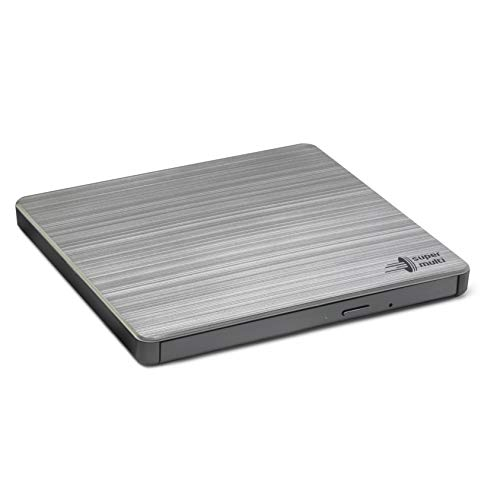Hitachi-LG GP60NS60 Externer Portabler DVD-Brenner mit stilvollem Design, 9.5 mm, USB 2.0, DVD+/-R, CD-R, DVD-RAM Kompatibel, TV-Anschluss, Windows 10 & Mac OS Kompatibel, Silber