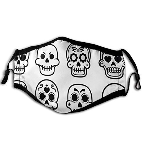 """ocaohuahuaba Abdeckung Halloween mexikanischen Zuckerschädel Dia De 6\""""X9 Zoll Gesichtsschutz Anti Staub Unisex Baumwolle Abdeckung"""