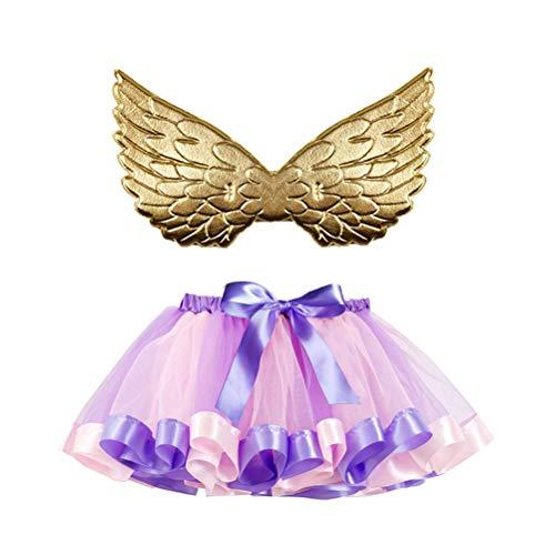 TENDYCOCO Falda de tutú Falda de baile de arco iris Falda de tul con ala para banquete de fiesta (Ala de oro, Tamaño L)