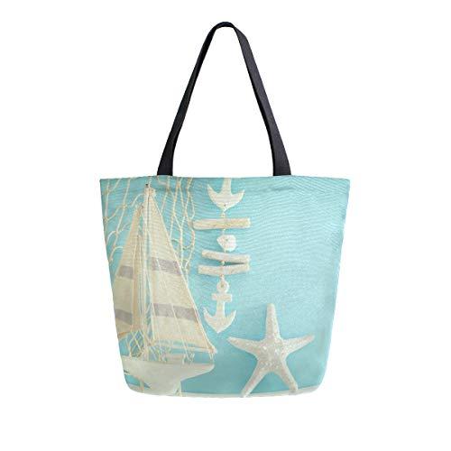 Mnsruu Handtasche aus Segeltuch, für Damen, mit Griff, Einkaufstasche, maritisches Konzept mit Meeresleben-Objekten, Holz-Tischtasche, lässig, Strand, Multifunktionstaschen für Damen