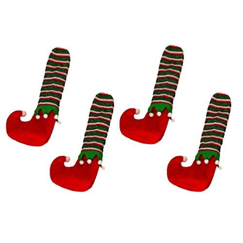 ABOOFAN 1 Set Weihnachtsstuhl Bein Socken Elf Schuhe Tischbeine Abdeckung Möbel Füße Stiefeletten Weihnachten Schreibtisch Bein Dekorationen für Weihnachtsfeier Dekorationen (Rot)
