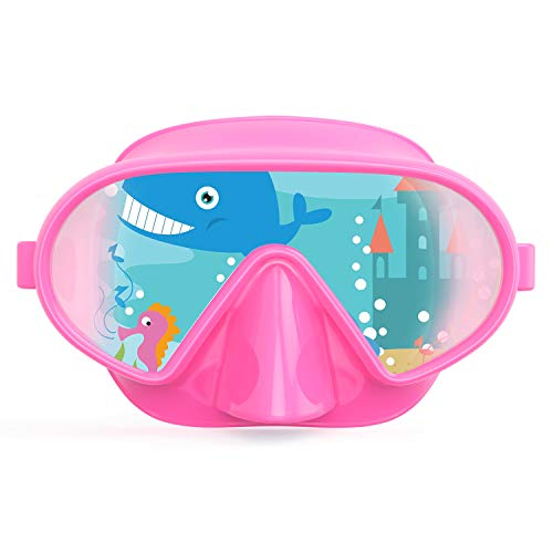 Fxexblin Kids Adults Swim Mask Swimming Goggles with Nose Cover Snorkel Scuba Diving Snorkeling, Anti-Fog Lens Leakproof Skirt 180 Panoramic View Face Dive Masks for Youth Children Boys gitls