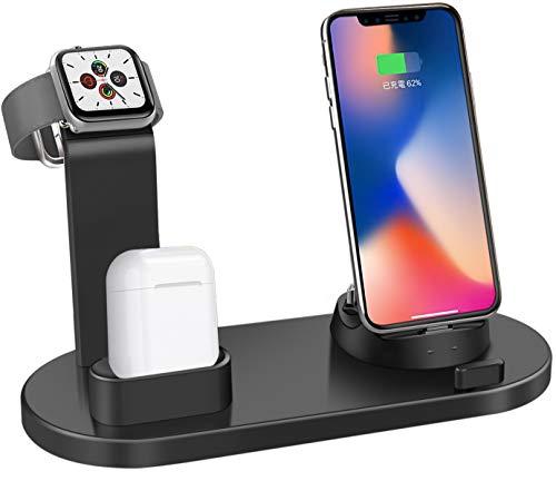 Soporte de carga, base de estación de teléfono celular con base de carga múltiple 3 en1Compatible con soporte para reloj de Airpods Soporte de carga universal para teléfonos inteligentes de escritorio