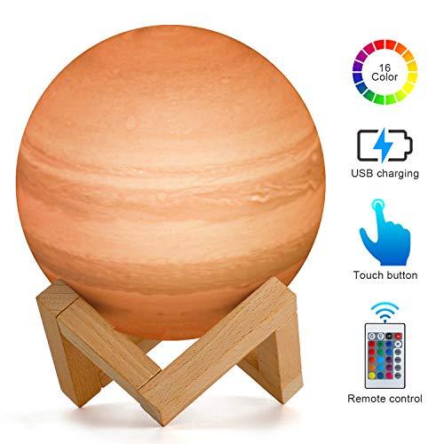 15 cm Júpiter Planet Lámpara, AMZJUPWM 3D Impresión 16 Colores con Soporte, Control Táctil y Portátil USB Recargable para Decoración del Hogar y Regalos para Niños, Amigos, Amantes (Júpiter)