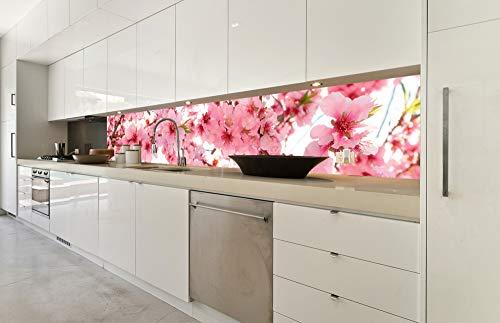 DIMEX LINE Küchenrückwand Folie selbstklebend APFELBLÜTE | Klebefolie - Dekofolie - Spritzschutz für Küche | Premium QUALITÄT - Made in EU | 350 cm x 60 cm
