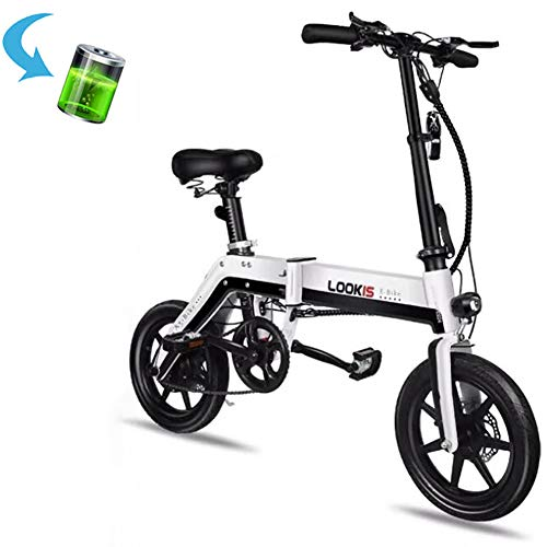 GUOJIN Bicicleta Eléctrica, Unisex Adulto Bicicleta Eléctrica Plegable Power Assist Ciclomotor Bicicleta...