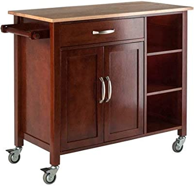 kitchen wooden furniture wood work wood kitchen island cart multiple storage space open shelves door cabinet amazoncom winsome single drawer cart